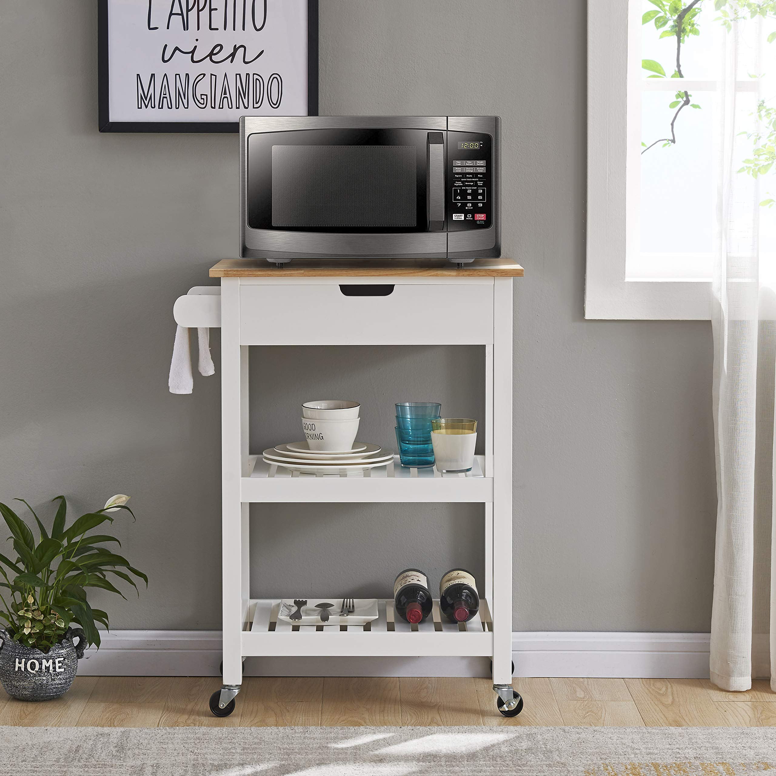 Coniffer Rolling Kitchen Cart Microwave Storage Island with Wheels White for Dining Rooms Kitchens and Living Rooms by Coniffer