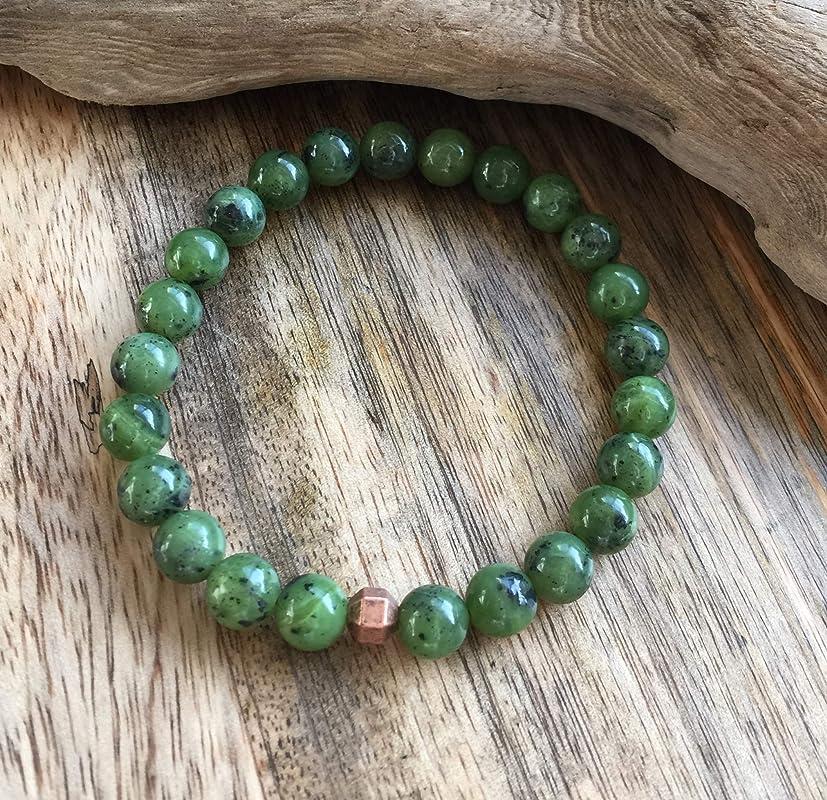 Canadian Nephrite Jade Nugget  Macram\u00e9 Bracelet Natural Jade Green Jade