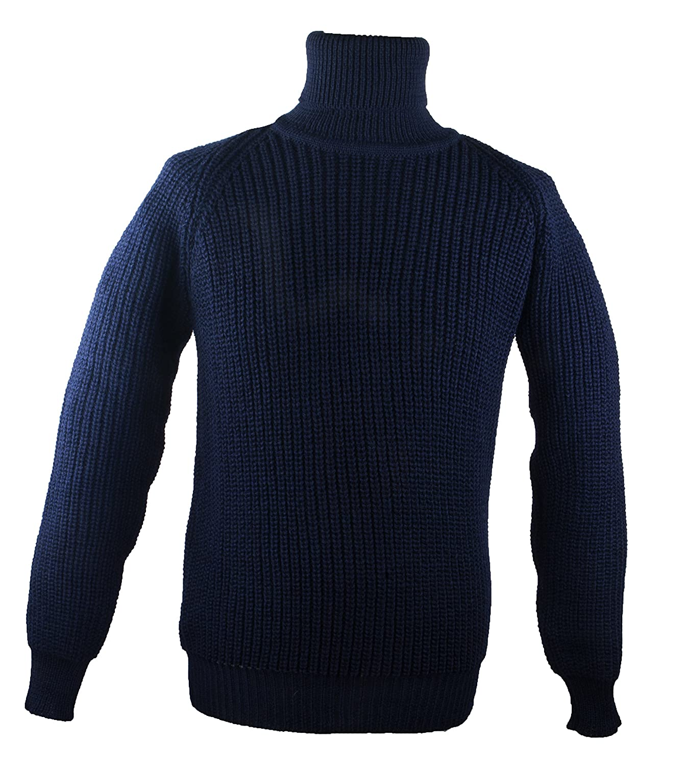 100% Irish Merino Wool Fishermans Navy Roll Collar Rib Sweater by West End Knitwear