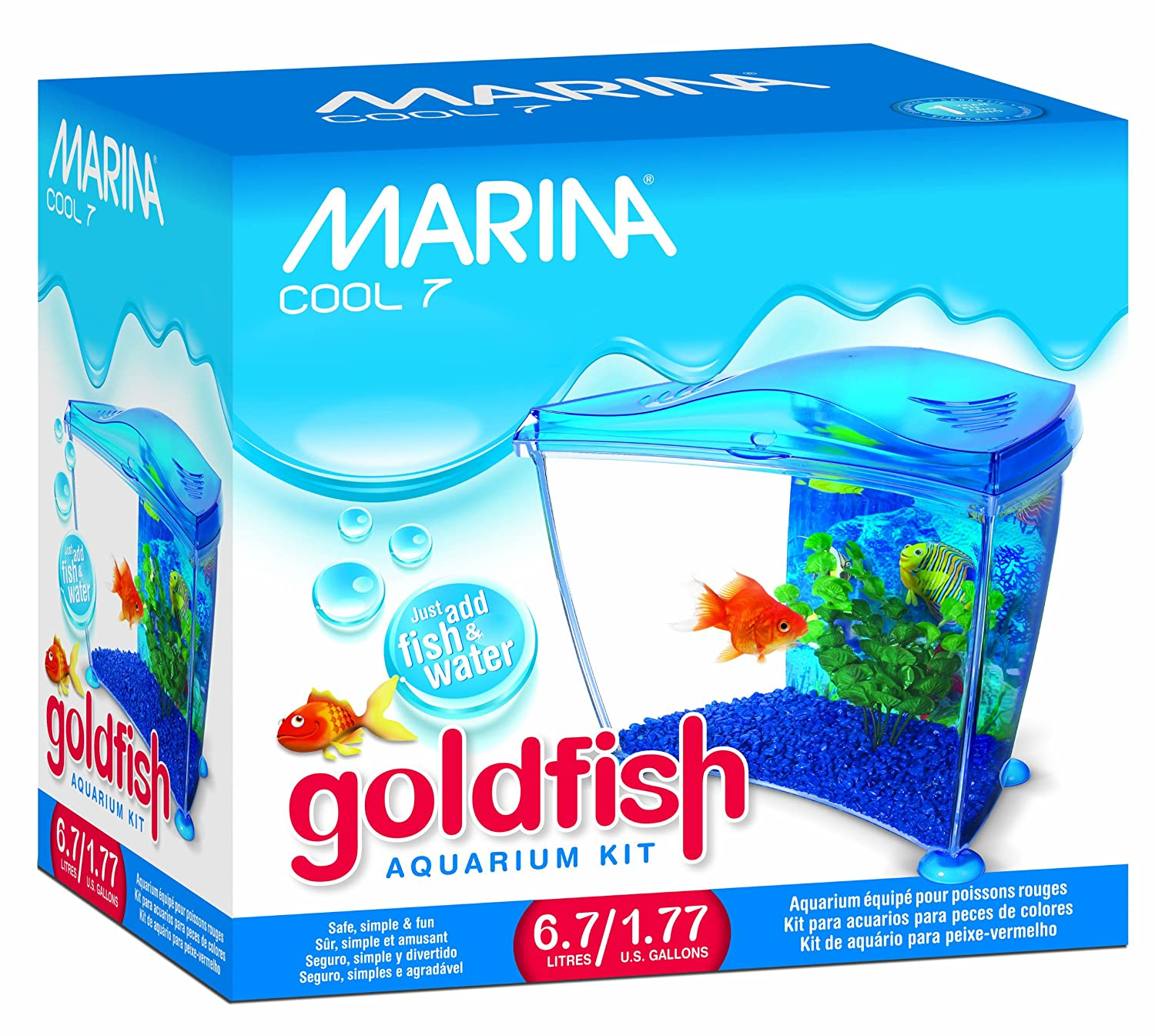 Marina Cool Goldfish Kit, Blue, Small/1.77-Gallon by Marina B003RDX2FW
