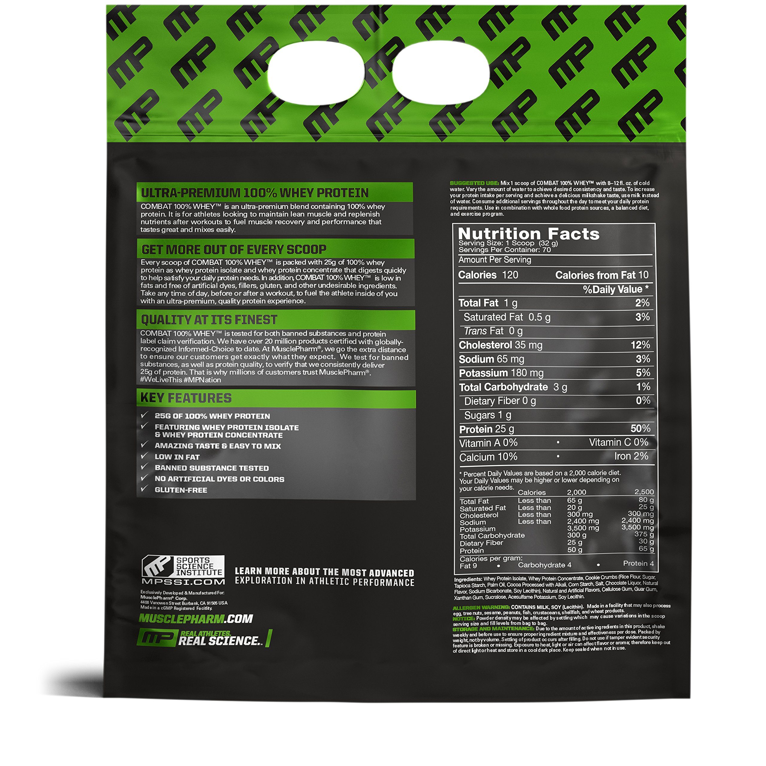 Muscle Pharm Combat 100% Whey Cookies 'n Cream, 10lbs, 2 Pound by Muscle Pharm (Image #2)