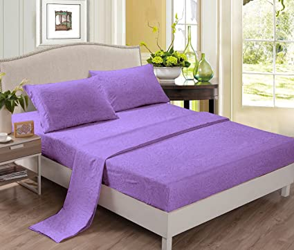 Superior Polyester Bed Sheets (King, Lavender) Wrinkle Free, Fade Free, Stain  Resistant
