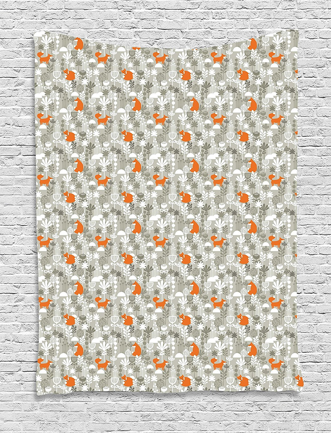 Fox Tapestry, Small Animals of the European Forests Doodle Style Floral Arrangement, Wall Hanging for Bedroom Living Room Dorm, 60 W X 80 L Inches, Resheda Green Orange White