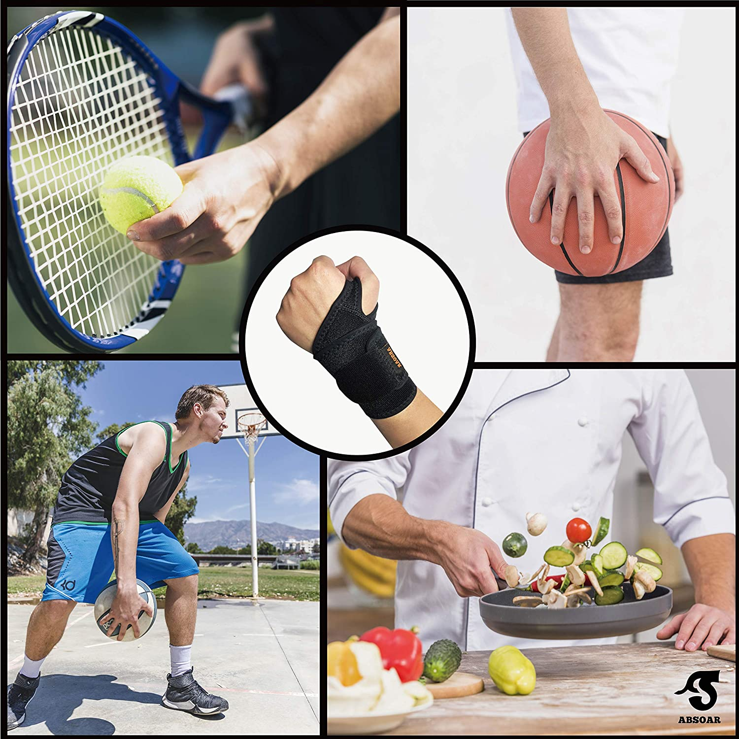 2 Packs ABSOAR Wrist Brace for Men Women Carpal Tunnel Support Wrist Pain Relief fit Both Right Left Hand with Special Thumb Design