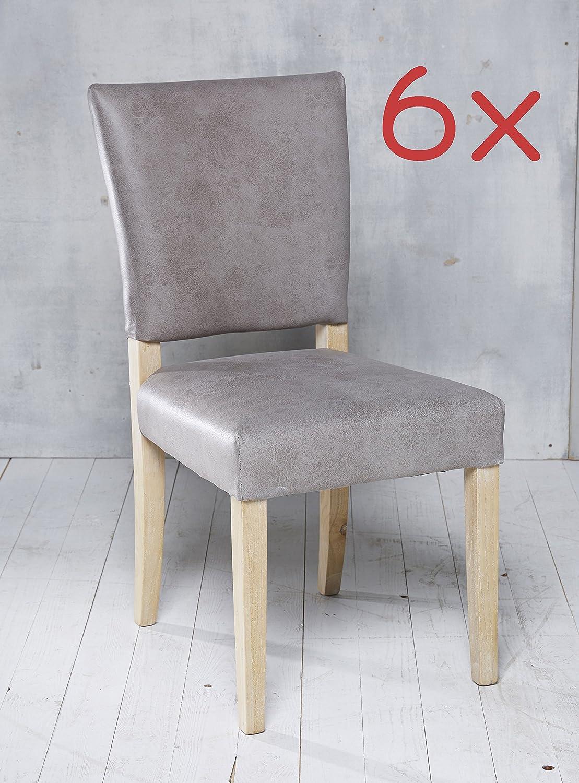 6 Esszimmerstühle Leder in grau Stuhlgruppe Essgruppe Sitzgruppe