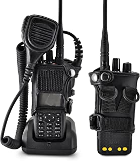 product image for Turtleback Carry Holder for Motorola XPR 7550 Radio with D Rings Attachment, Fire and Police Two Way Radio Belt Case, Black Leather Duty Belt Holster with Heavy Duty D Rings, Made in USA
