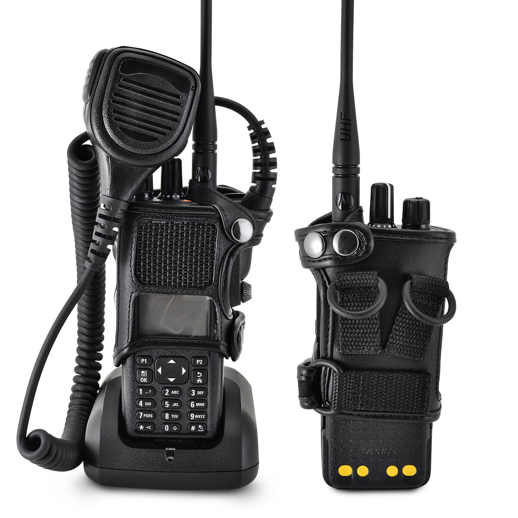 Turtleback Carry Holder for Motorola XPR 7550 Radio with D Rings Attachment, Fire and Police Two Way Radio Belt Case, Black Leather Duty Belt Holster with Heavy Duty D Rings, Made in USA