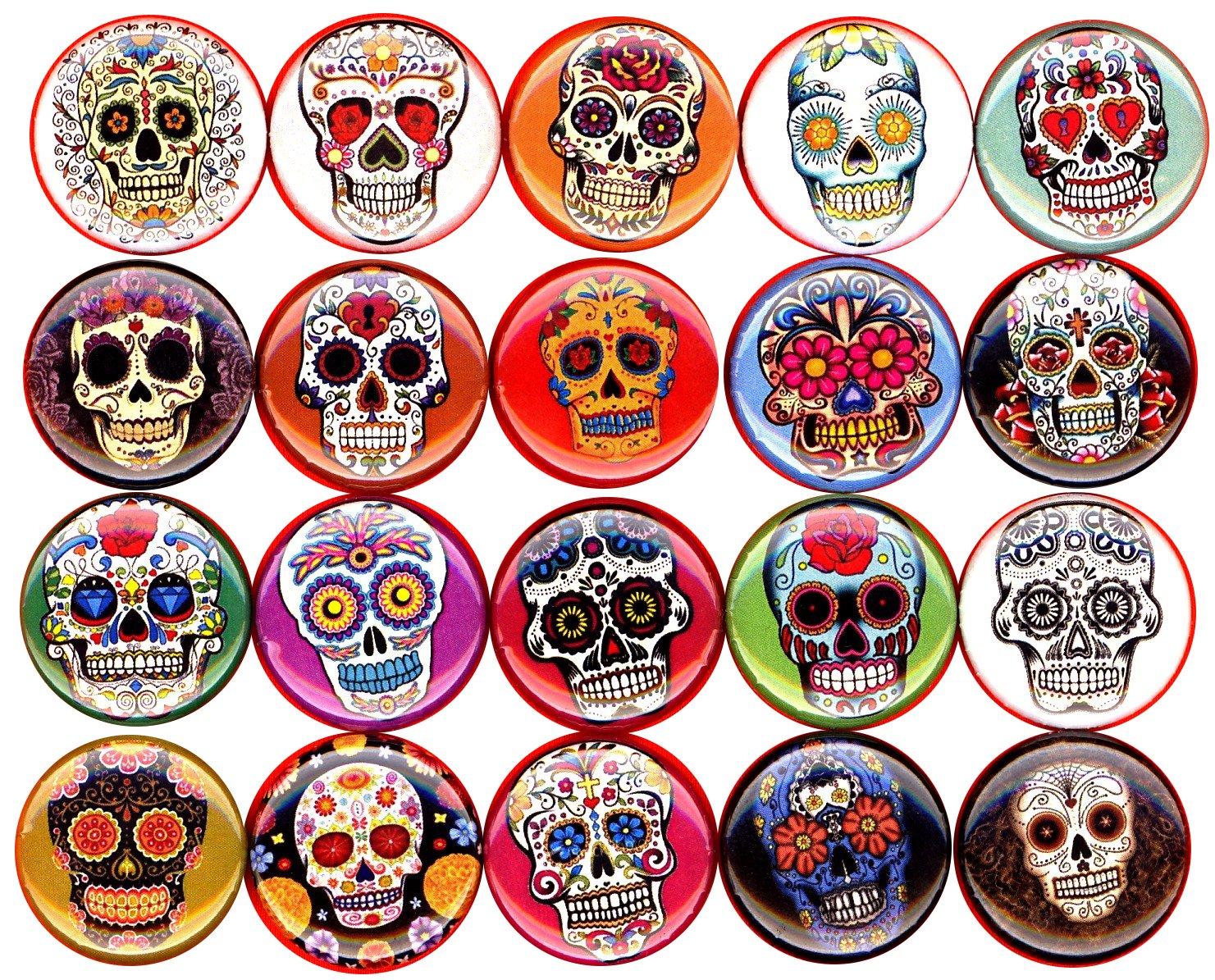 Sugar Skulls x 20 NEW 1'' inch (25mm) buttons pins badges dia de los muertes day of the dead …