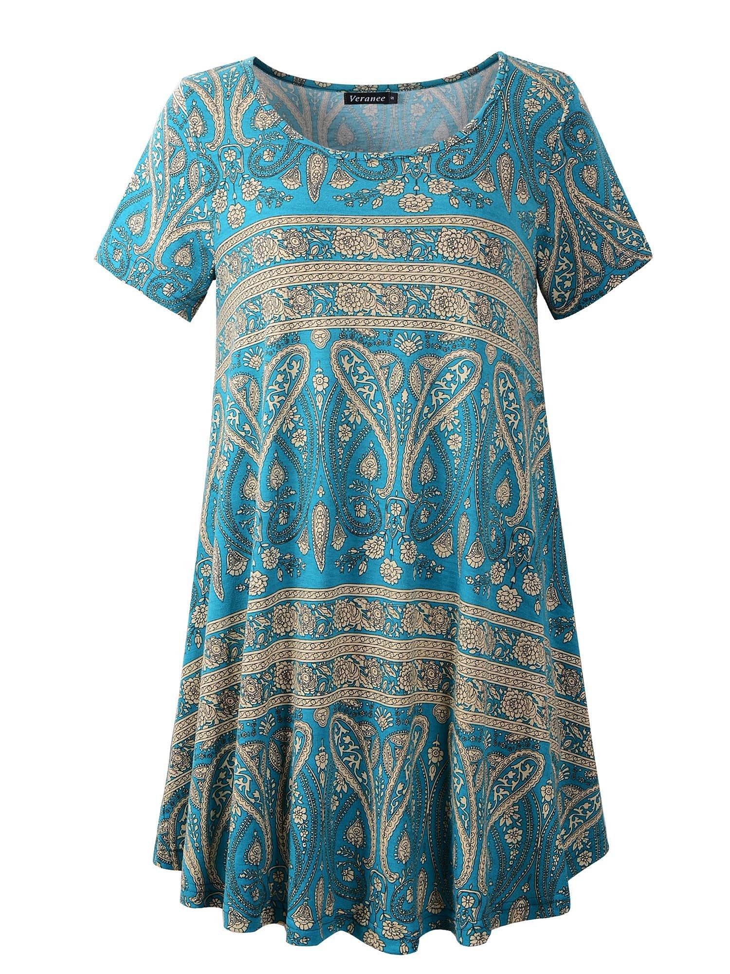 Veranee Women's Plus Size Swing Tunic Top Short Sleeve Floral Flare T-Shirt (XXX-Large, 56-4)