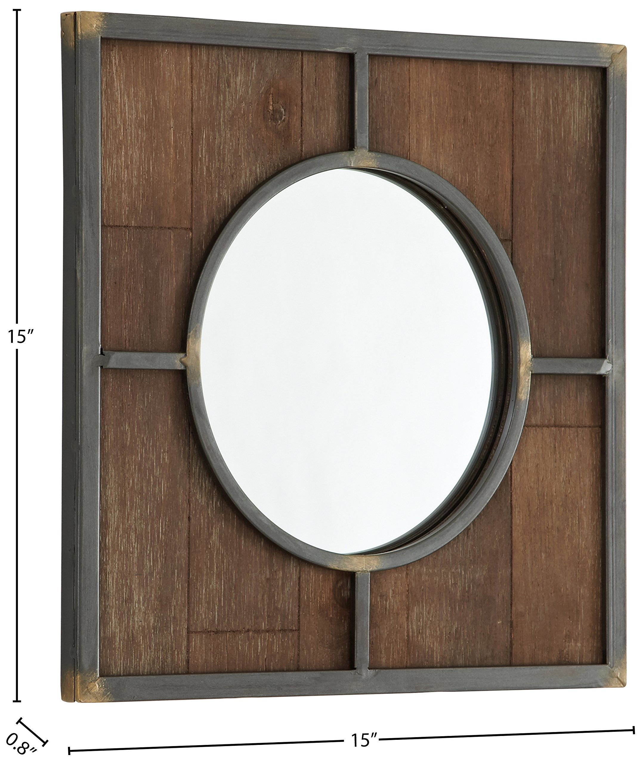 Stone & Beam Round Wood Quadrant Mirror, 15''H, Dark Wood Finish by Stone & Beam (Image #4)