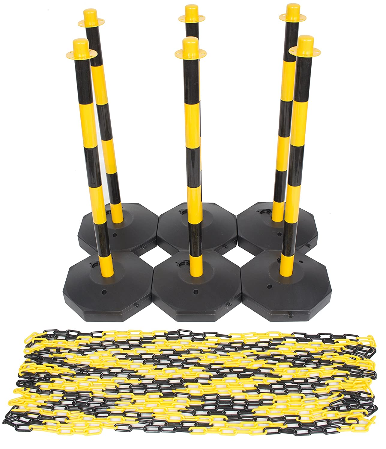 (6 Pack) Yellow & Black Plastic Chain Post Set Demarcation Safety Chain Barrier Post Pole with Base and 15mtr Plastic Chain SafetyLiftingGear