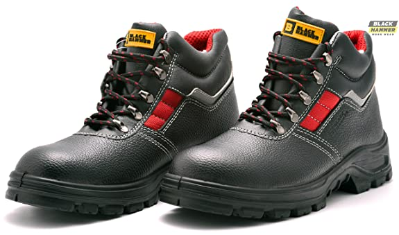 Amazoncom Mens Safety Boots S3 Steel Toe Cap Work Shoes Ankle Leather  Steel Mid Sole Protection Black Hammer 5993 Shoes