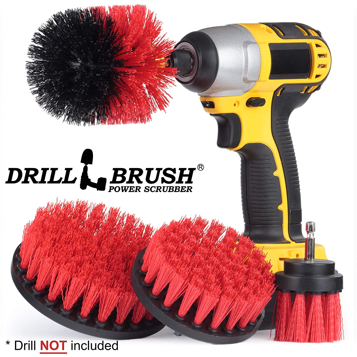 Drillbrush 4 Piece Scrub Brush Drill Attachment Kit - Drill Powered Cleaning Brush Attachments - Time Saving Cleaning Kit - Great for Cleaning Pool Tile, Flooring, Brick, Ceramic, Marble, and Grout S-W2-Y4O-R5-QC-DB