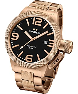 TW Steel Mens Canteen Watch Rose Gold PVD Stainless Bracelet Auto 45mm CB175