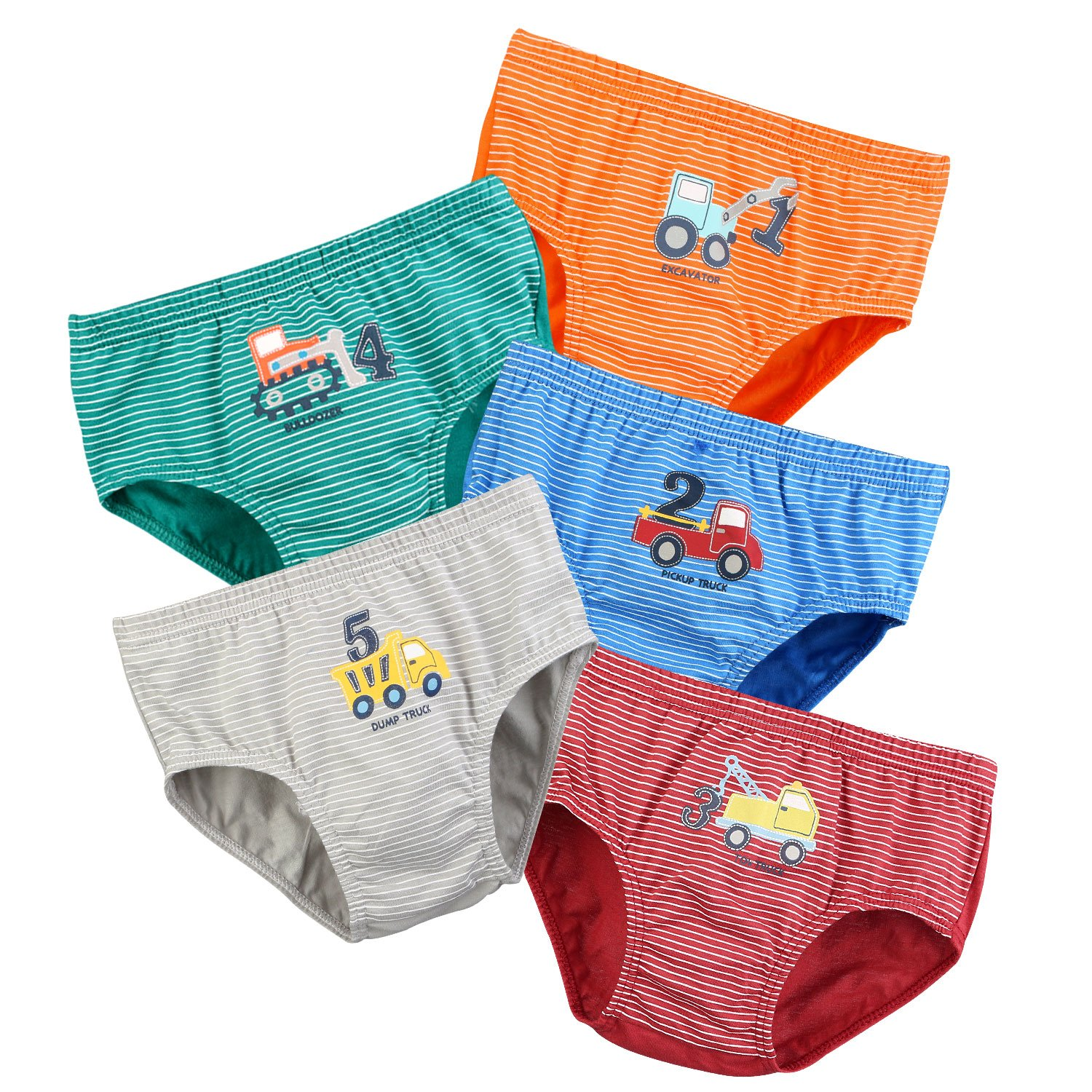 Boys Underwear,BOOPH Little boys Toddlers Cotton Underwear Briefs Car 5 Pack for Kids truck