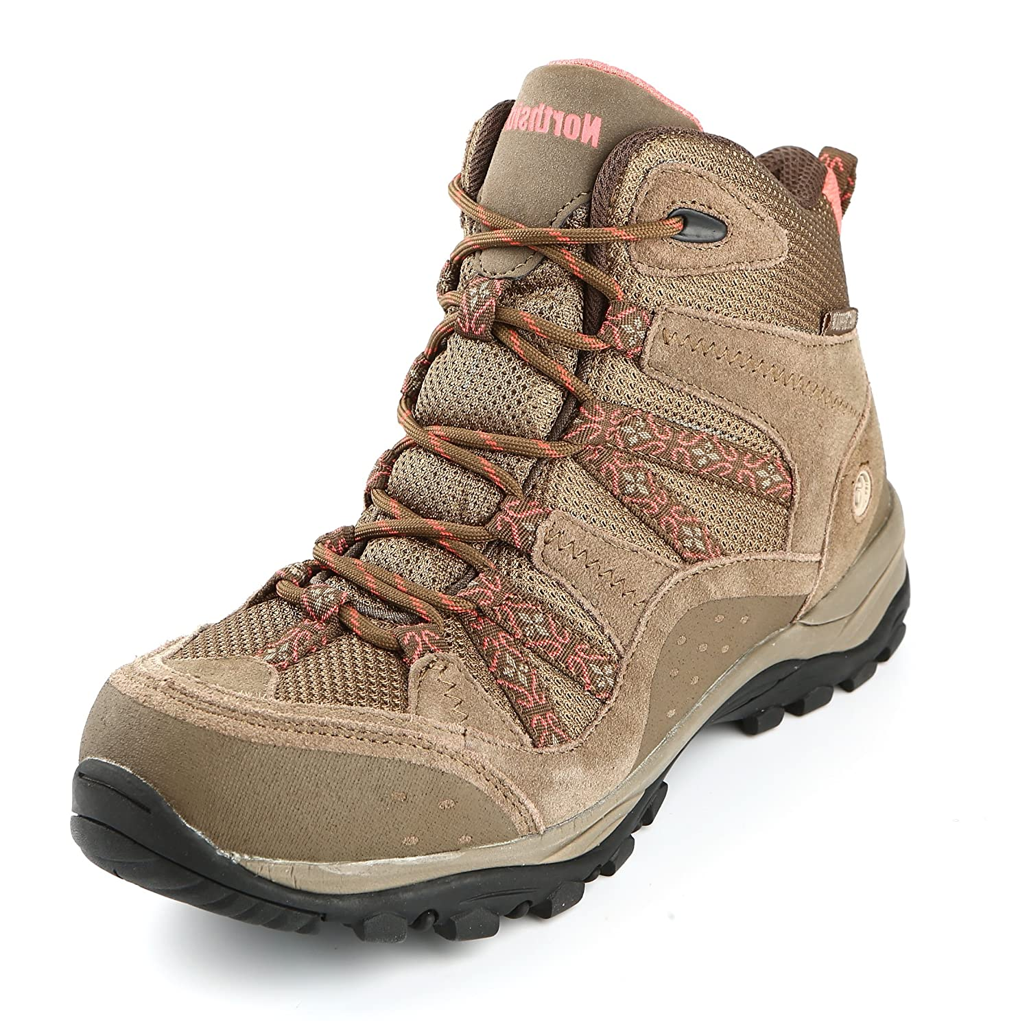 Northside Womens Freemont Leather Mid Waterproof Hiking Boot B074WH3193 7.5 B(M) US|Tan/Coral