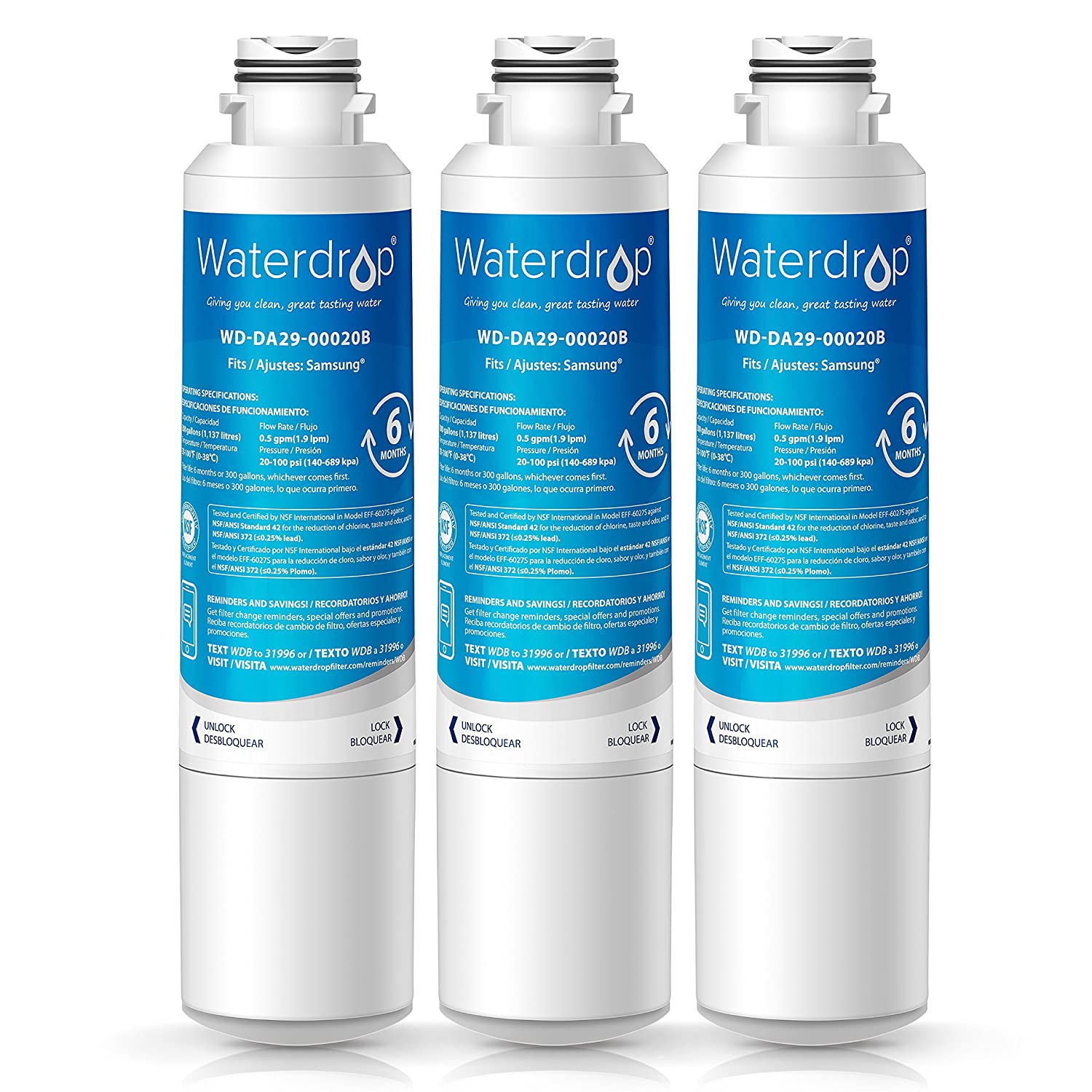 Waterdrop DA29-00020B Refrigerator Water Filter, Compatible with Samsung DA29-00020B, DA29-00020A, HAF-CIN/EXP, 46-9101, Standard, Pack of 3