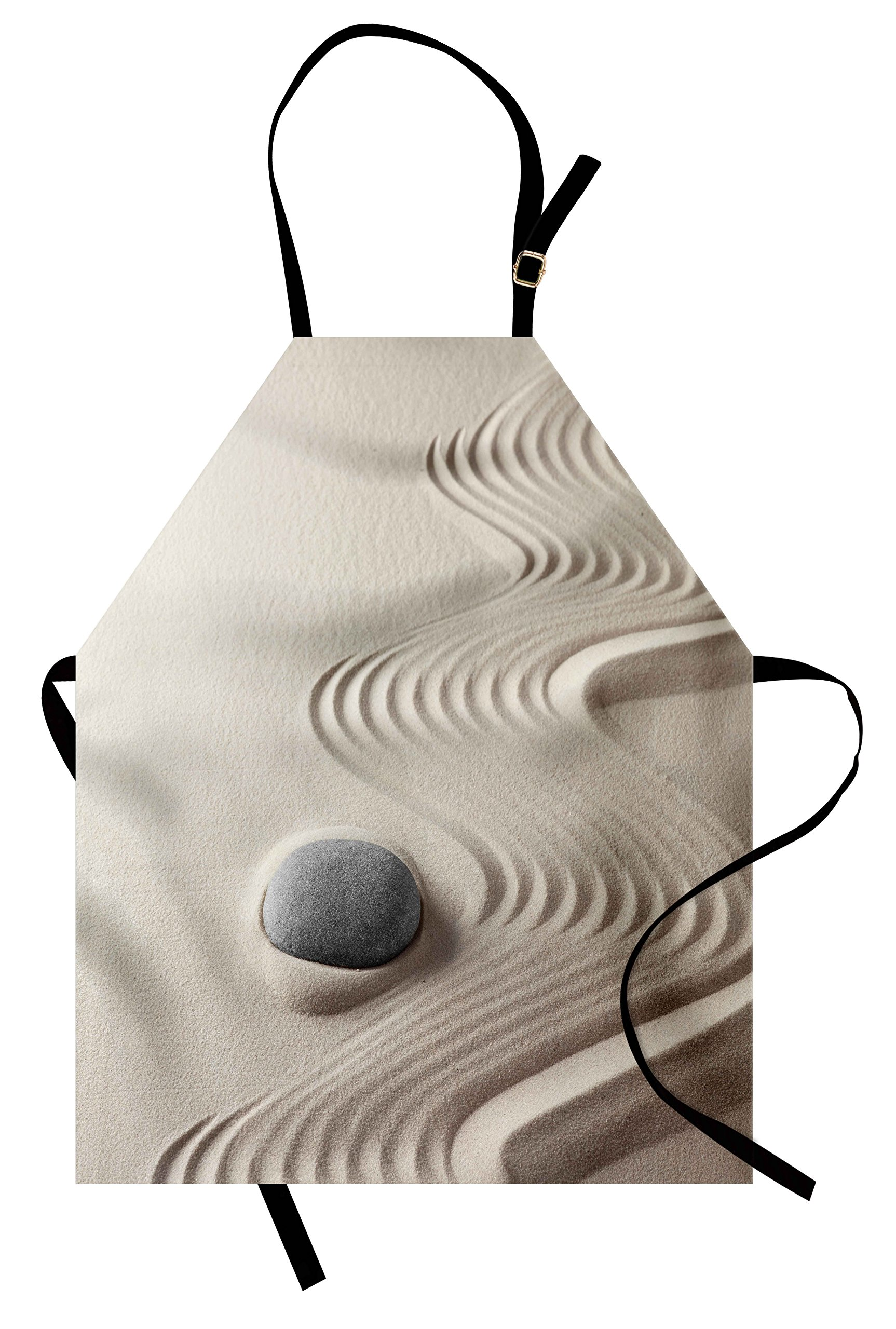 Lunarable Spa Apron, The Caribbean White Sand in Shaped Like Waves Near a Grey Zen Stones Work of Art, Unisex Kitchen Bib Apron with Adjustable Neck for Cooking Baking Gardening, Beige and Grey