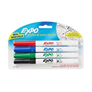 EXPO 1871133  Low-Odor Dry Erase Markers, Ultra Fine Tip, Assorted Colors, 4-Count
