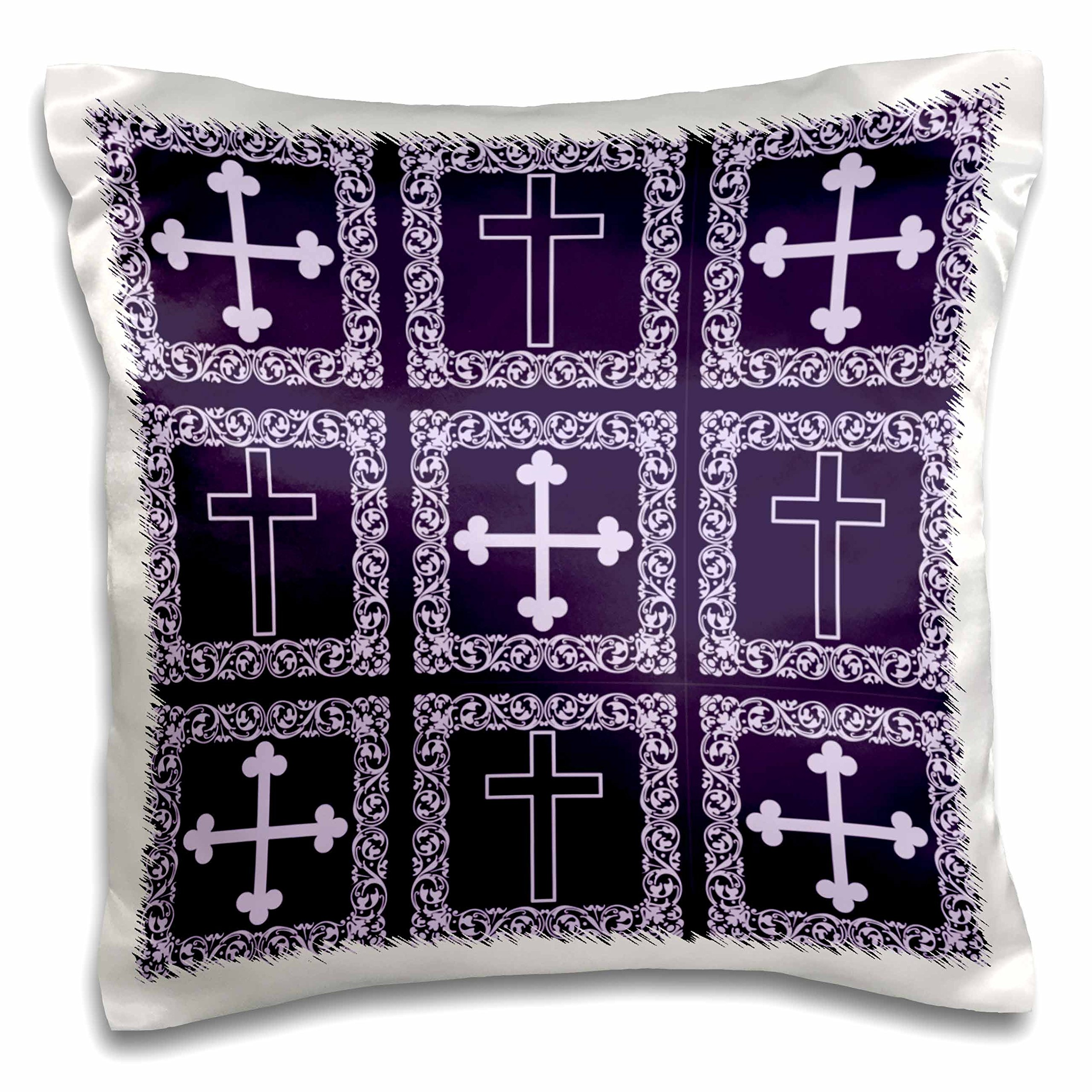 3D Rose Christian Victorian Floral Frame Standard Iron Cross in Two Purple Shades Design Pillowcase, 16'' x 16''