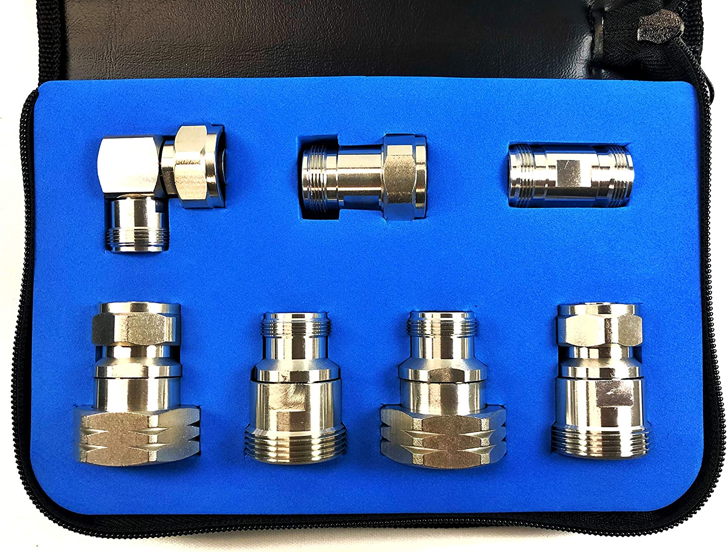 ConnectoRF RF Low PIM Adapter Kit Mini-DIN 4.1//9.5 to N Tri-Metal Plating 7pcs with Case