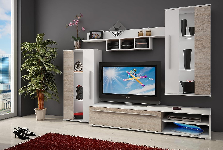 Homely Mueble de salón modular NATURE color roble sonoma y blanco de 235 cm