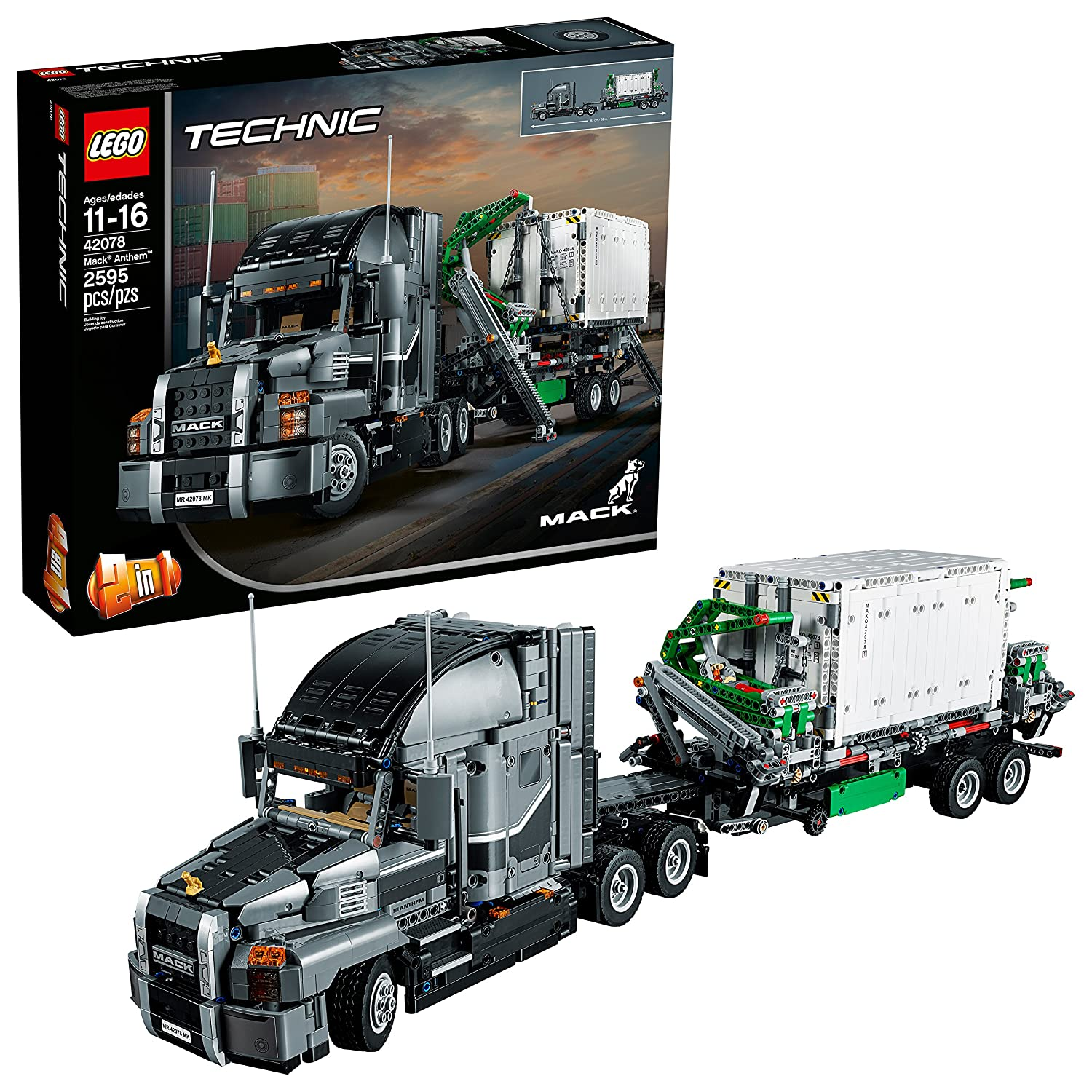 Amazon.com: LEGO Technic Mack Anthem 42078 Semi Truck Building Kit and  Engineering Toy for Kids and Teenagers, Top Gifts for Boys (2595 Piece):  Toys & Games