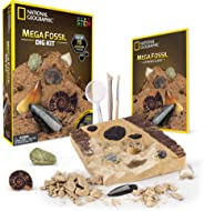 NATIONAL GEOGRAPHIC Mega Fossil Dig Kit – Excavate 15 real fossils including Dinosaur Bones, Mosasaur & Shark Teeth - Great
