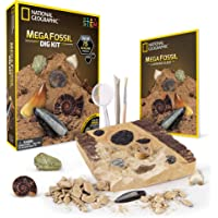 NATIONAL GEOGRAPHIC Mega Fossil Dig Kit – Excavate 15 Real Fossils Including Dinosaur Bones, Mosasaur & Shark Teeth…