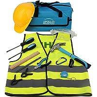 Apollo Tools DT4936 Kit de herramientas para niños de 14 piezas con herramientas de mano y anteojos de seguridad, gorro de trabajo y chaleco reflectante, todo en una práctica bolsa de almacenamiento