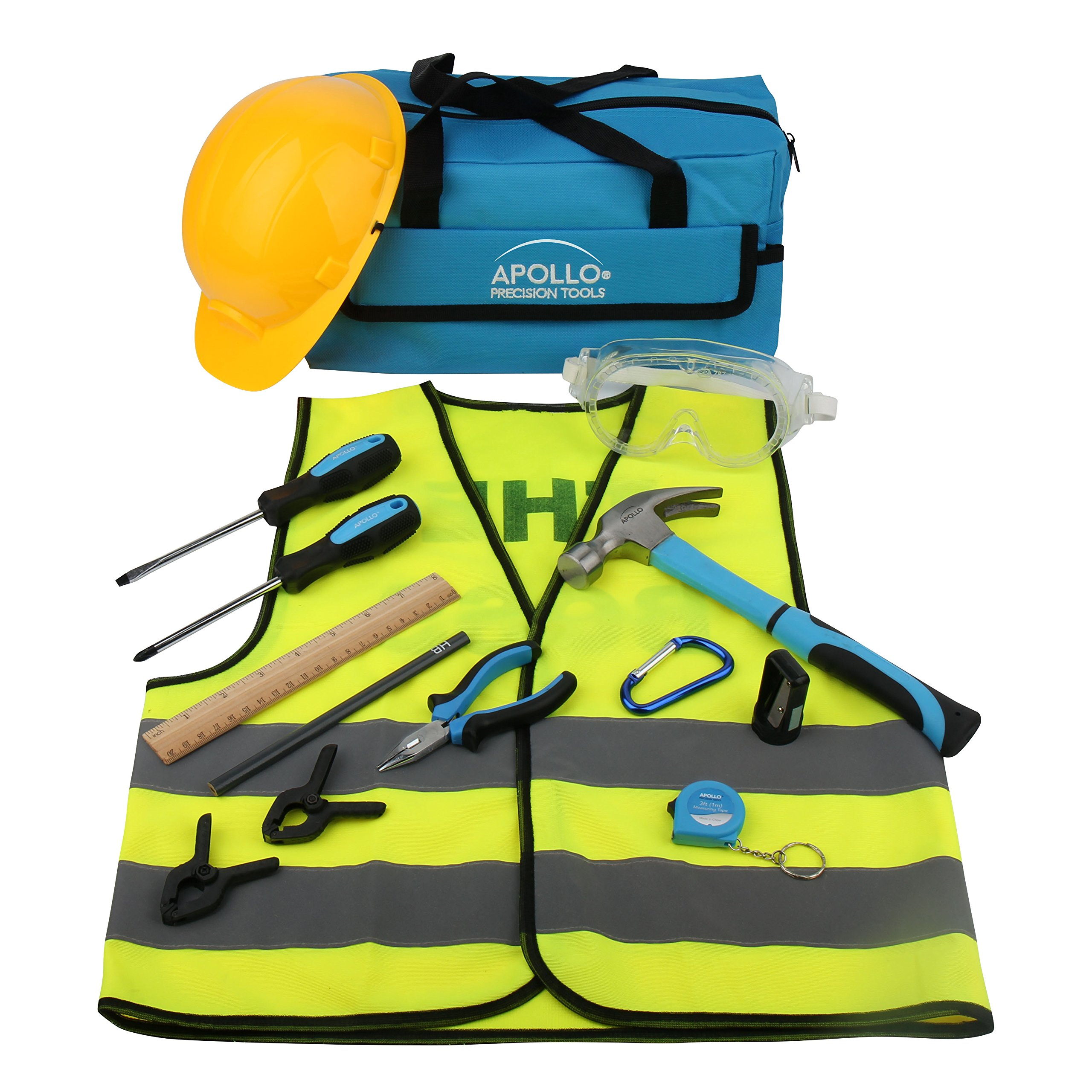 Apollo Tools DT4936 14 Piece Children's First Tool Kit with Real Hand Tools and Safety Goggles, Play-Work Hat and Reflecting Vest - All in a Convenient Storage Bag