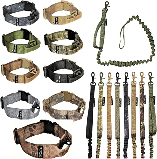 FDC Dog Tactical Collar with Leash Bungee Handle Heavy Duty Training Military Army Molle Width 1.5in Plastic Buckle TAG Hole Medium Large M, L, XL, XXL