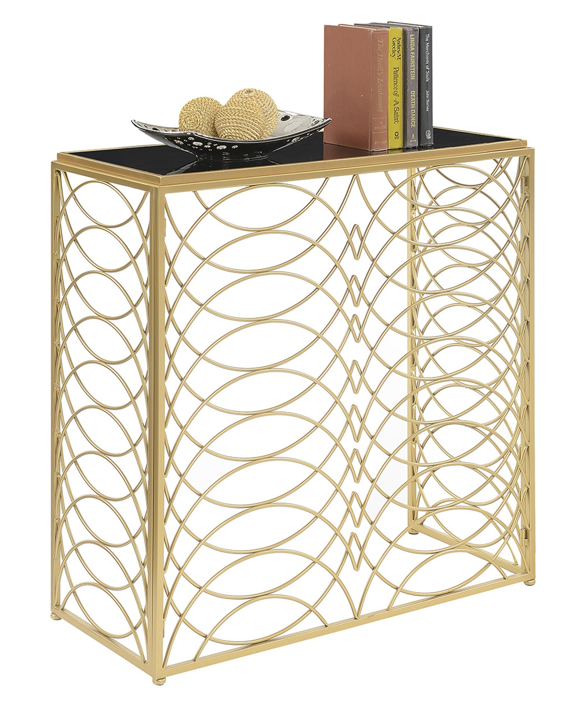 Convenience Concepts Gold Coast Tranquility Console Table, Gold / Black Glass - Gold Coast collection Available in multiple finishes Intricate scroll work - living-room-furniture, living-room, end-tables - 91W86tmzz5L -