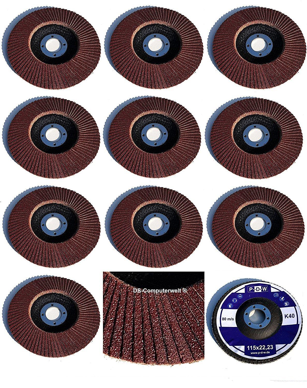Set of 20 fan discs, diameter 115 mm x 22.23 mm, mixed grit each, 5 x grain 40/60/80/120, brown, standard fan discs, grinding disc, flap disc TD-Warenhandel