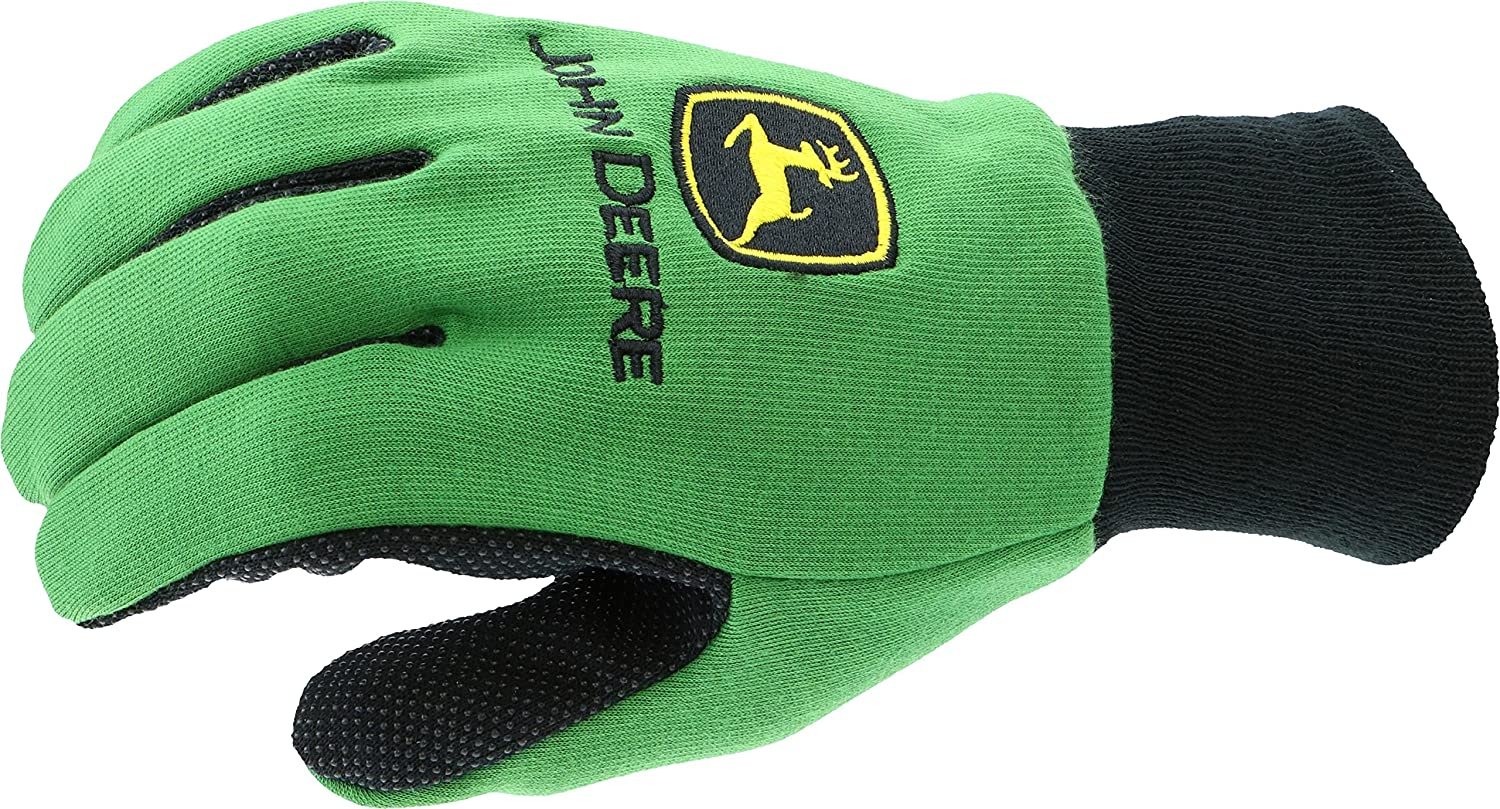Green John Deere JD00002 Grip Jersey Gloves Youth