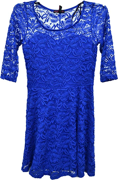 Material Girl Short-sleeve Lace Skater Dress Surf The Web Blue Small ... d69f09e46