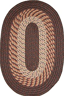 product image for Plymouth 6' Round Braided Rug in Chestnut Brown Made in USA