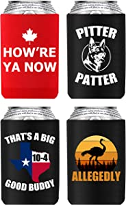 4 Pack Letterkenny Beer Coozie Merchandise Favorite Funny Sayings, How're Ya Now, Pitter Patter, Thats A Texas Sized 10-4, Allegedly Ostrich, Can Cooler Sleeves 16oz 24oz Beer Bottle