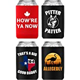 4 Pack Letterkenny Beer Coozie Merchandise Favorite Funny Sayings, How're Ya Now, Pitter Patter, Thats A Texas Sized 10-4, Al