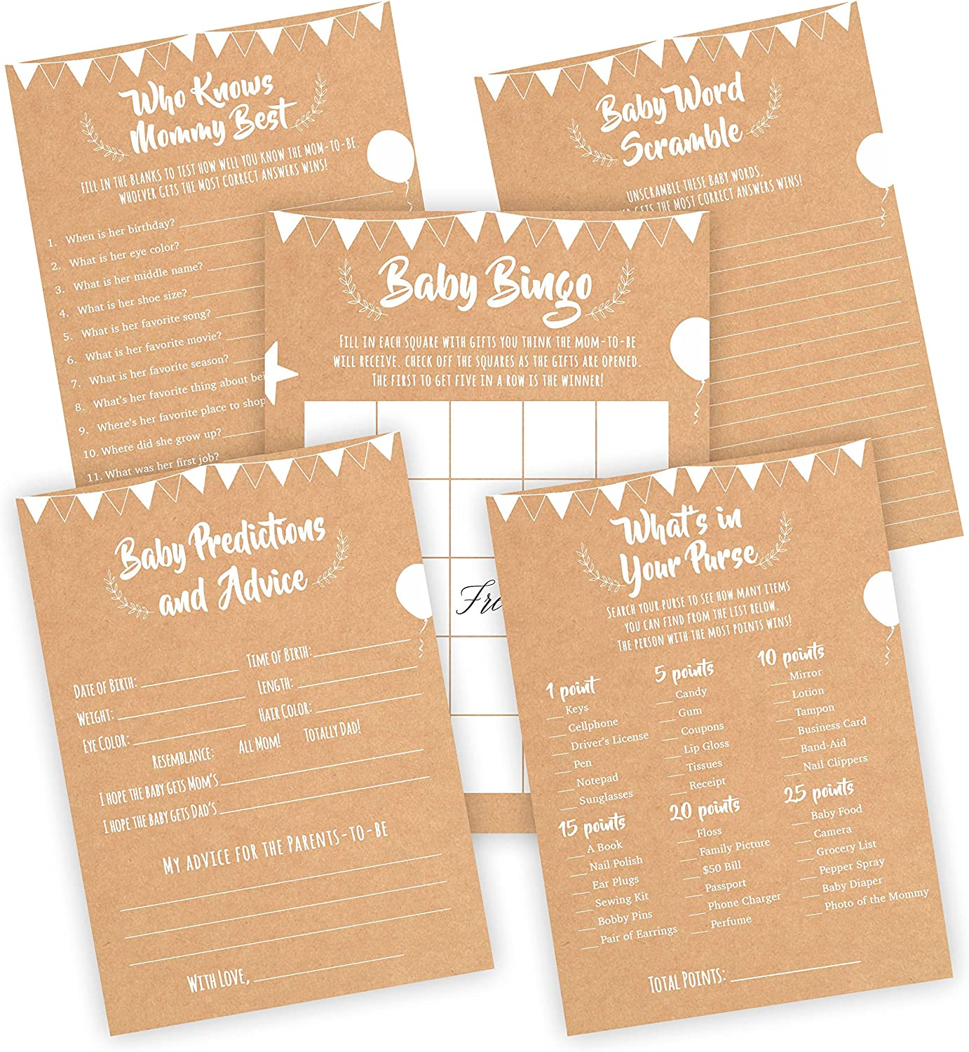 Simple-Glee Baby Shower Games Pack - 5 Fun Easy to Play Party Activities, 20 Cards Each - Bingo, Predictions, Word Scramble, Who Knows Mommy Best, and What's in Your Purse - Unique Card Game Set