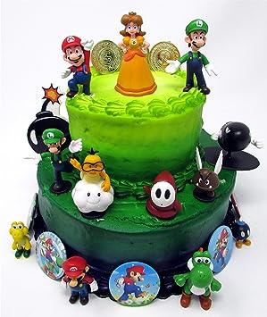 Pleasing Mario Brothers Birthday Party 22 Piece Mario Birthday Cake Topper Funny Birthday Cards Online Unhofree Goldxyz