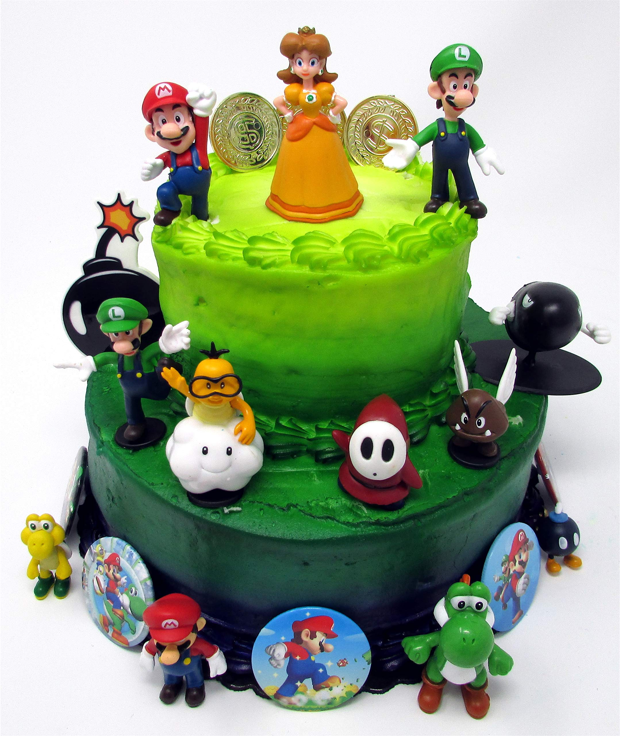 Mario Brothers Birthday Party 22 Piece Mario Birthday Cake Topper Featuring Mario, Luigi, Bullet, Toad, Mushroom, Goomba, Koopa, Shy, Bomb, Lakitu Spiny, Mario Coins, Large Bomb, and 6 Mario 1'' Decorative Buttons by Nintendo