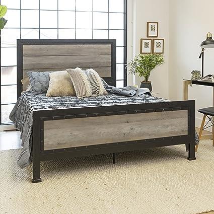 Amazon.com: New Rustic Queen Industrial Wood and Metal bed