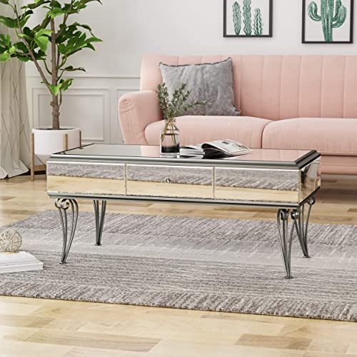 Christopher Knight Home Belvidere Modern Tempered Glass Mirrored Coffee Table