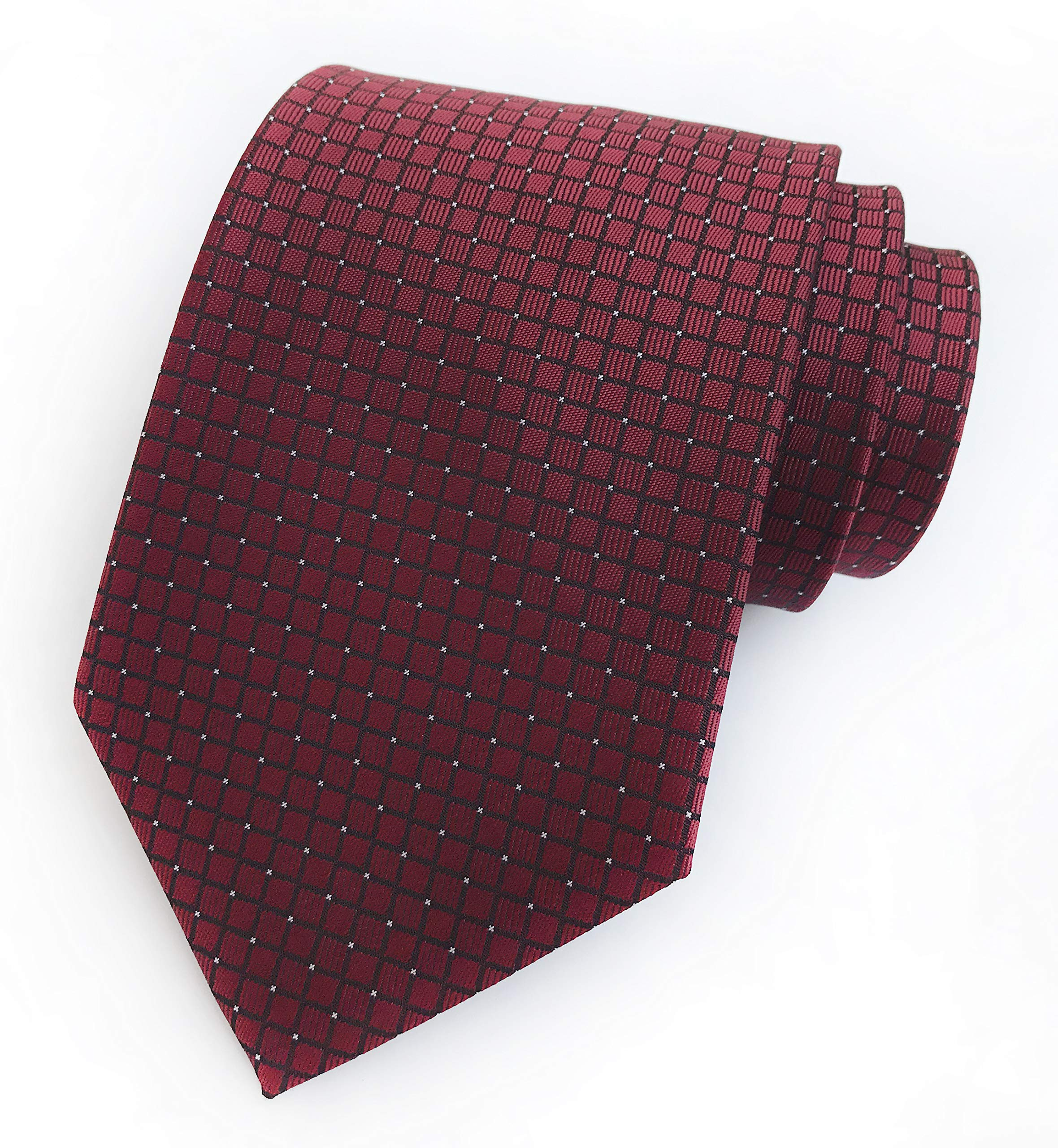 Men Micro Check Claret Red Silk Ties Vintage Maroon Autumn uk Brick Red Neckties by Kihatwin (Image #2)