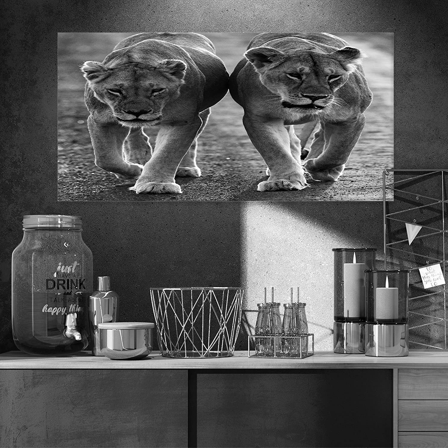 Lions in black and white animal photo canvas art amazon co uk kitchen home