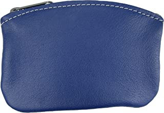 product image for North Star Men's Large Leather Zippered Coin Pouch Change Holder (5 X 3.5 X 0.25, Violet Blue)