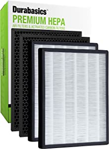 Durabasics LV-PUR131 Compatible HEPA Filter Set | 2 HEPA Filters & 2 Activated Carbon Pre Filters | Compatible with LEVOIT Air Purifier Replacement Filter LV PUR131 RF | Replacement for LEVOIT Filter