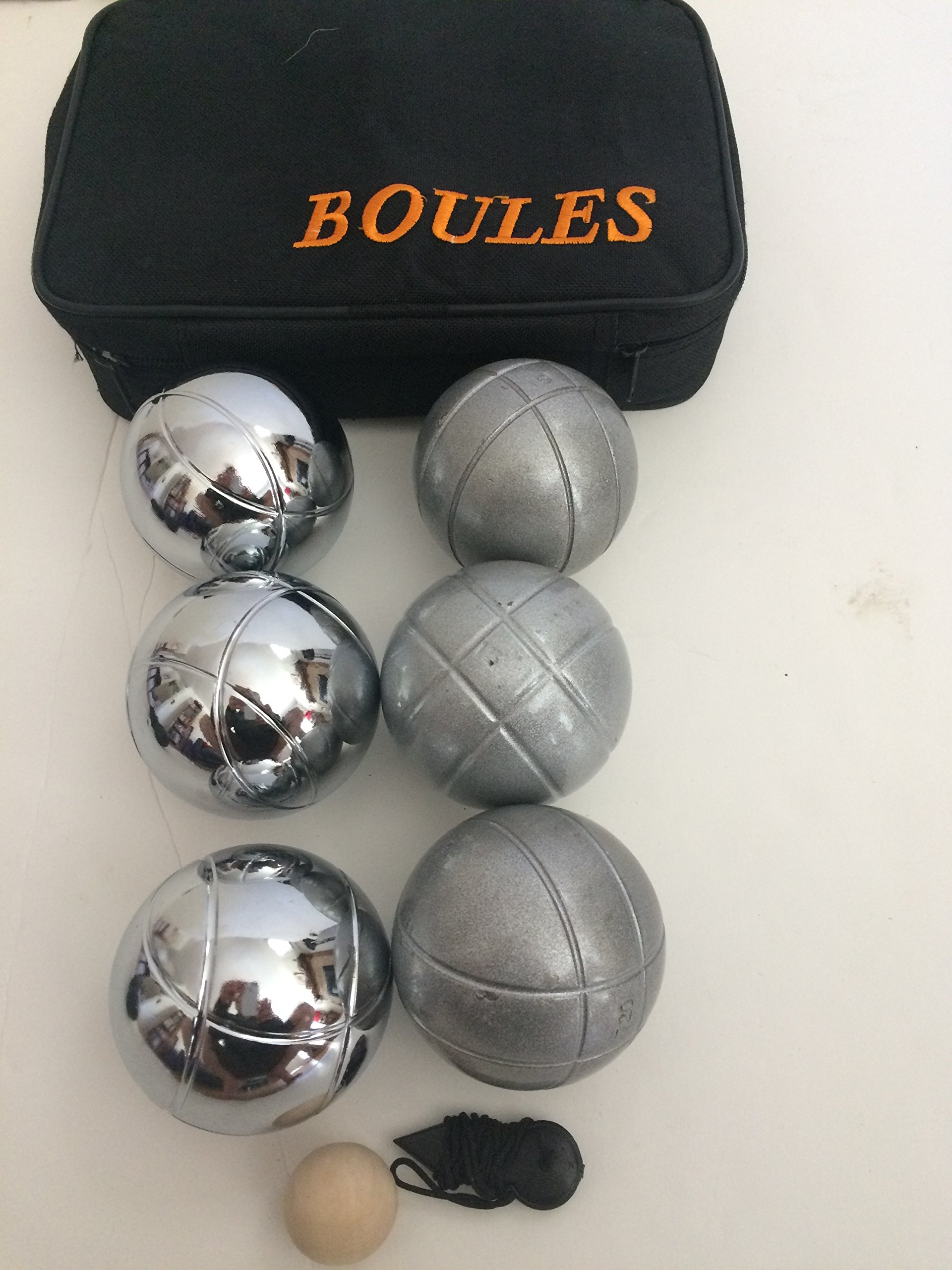 Unique 6 ball 73mm Metal Bocce/Petanque set with 3 grind sand balls and 3 silver balls by BuyBocceBalls