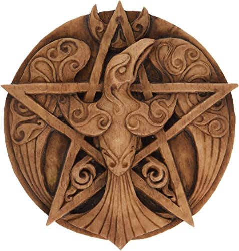Crescent Raven Pentacle Wall Plaque Wood Finish